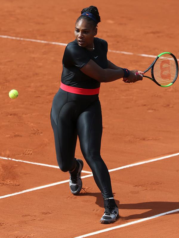 Serena at the French Open in the black Nike catsuit which caused a stir.