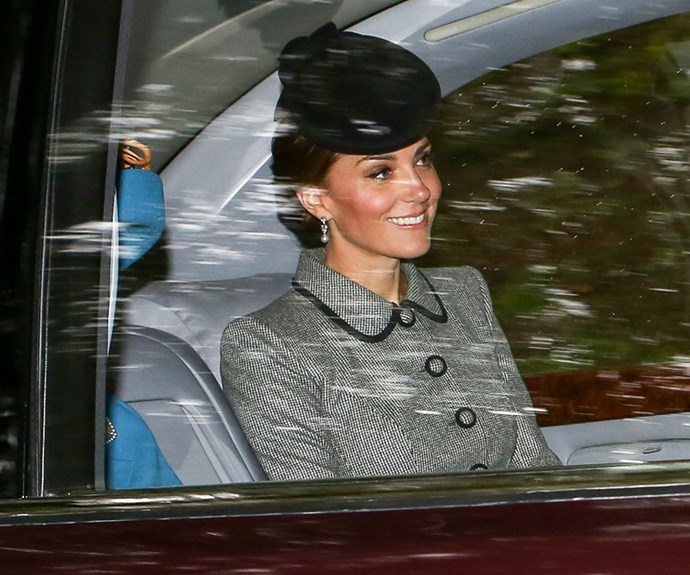 Duchess Catherine borrows the Queen's Bahrain pearl and diamond drop earrings for church outing.