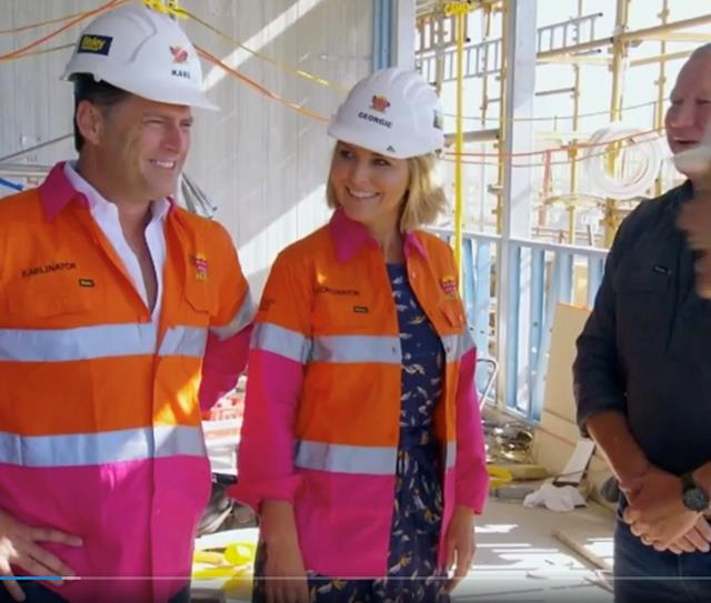 Karl Stefanovic and Georgie Gardner look thrilled to be onsite at The Block as the potential couple set to replace Hayden and Sara.