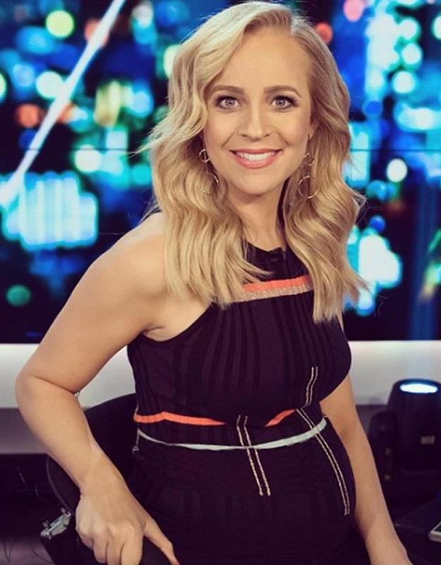 """No need for maternity wear! Carrie wears iconic Aussie designers [Sass & Bide](https://www.sassandbide.com/au/ten-tigers-knit-dress-multi