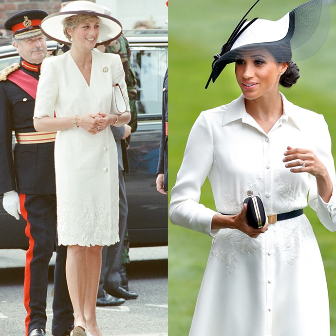 An all-white look is daring, especially when you're hitting the outdoors, but both Princess Di and Duchess Meghan make it look easy. *(Images: Getty)*