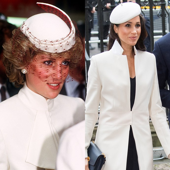 Nothing like a high collar and perfectly positioned hat to show you mean business. *(Images: Getty)*