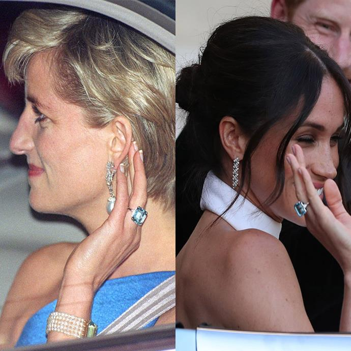 """Royal fans [were ecstatic](https://www.nowtolove.co.nz/celebrity/royals/prince-harry-meghan-markles-whirlwind-year-after-engagement-39868"""") to see Meghan wear this dazzling aquamarine ring following her wedding in May. The beautiful piece of jewellery was Princess Diana's favourite. *(Images: Getty)*"""