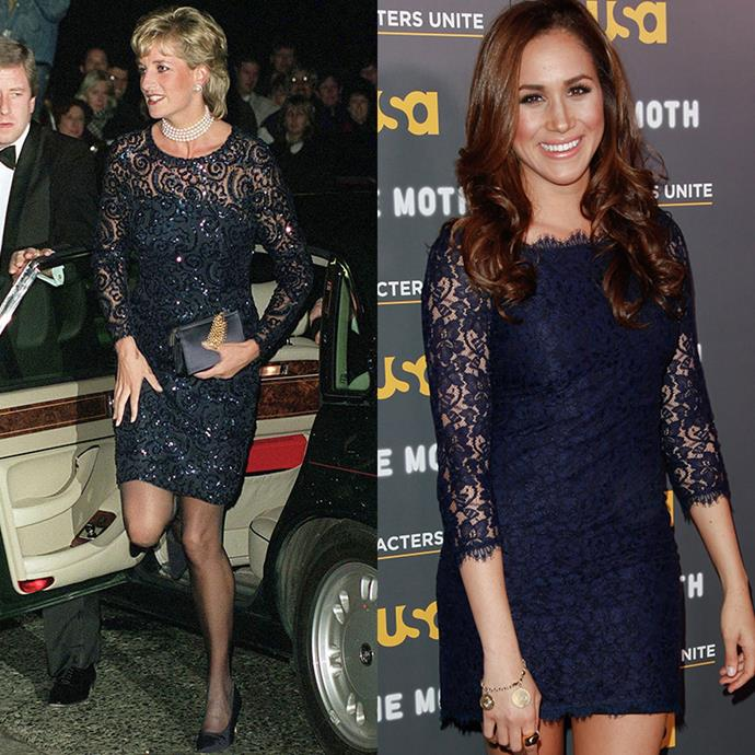 A long-sleeve lace dress provides the perfect mix of allure and class and both ladies have nailed it. *(Images: Getty)*