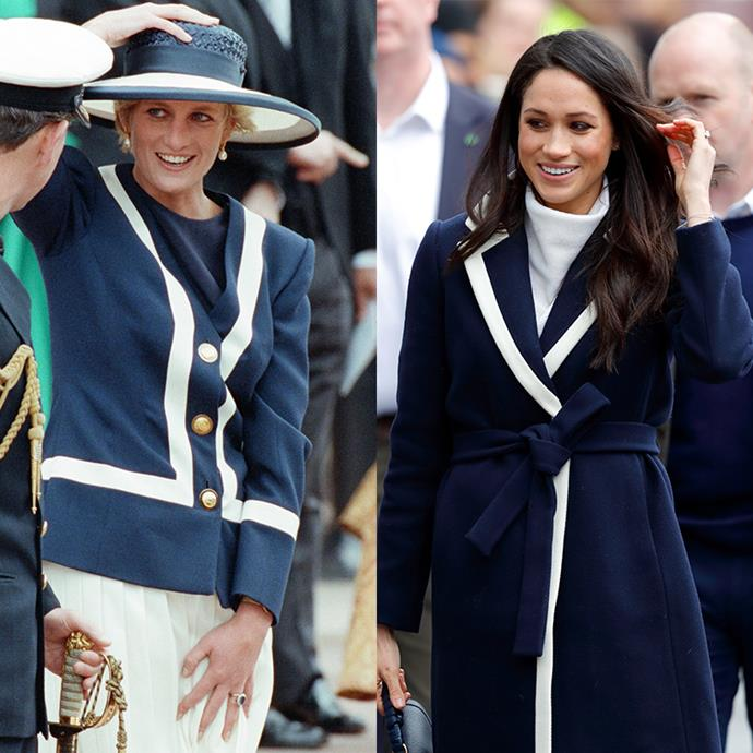 The royal ladies channel the navy and white nautical trend like no other.