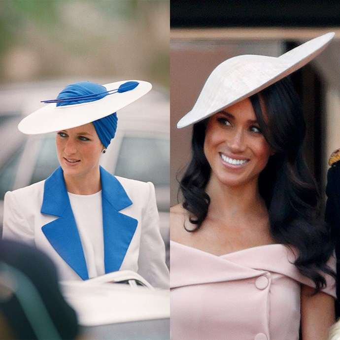 Frequently donning a hat is part and parcel to being a royal, and both Meghan and Diana prove the angled look is all-class. *(Images: Getty)*