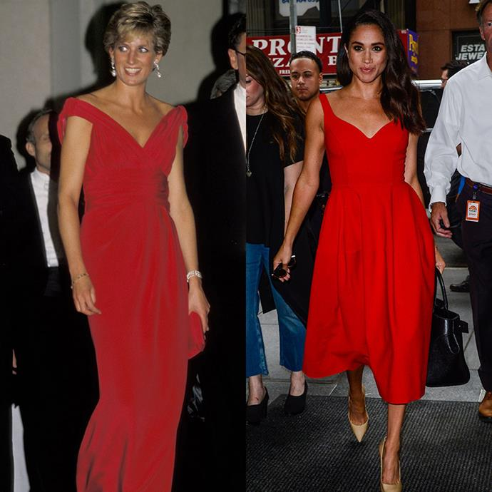 Bold, bright and making a statement. These V-neck red dresses are absolutely stunning. *(Images: Getty)*