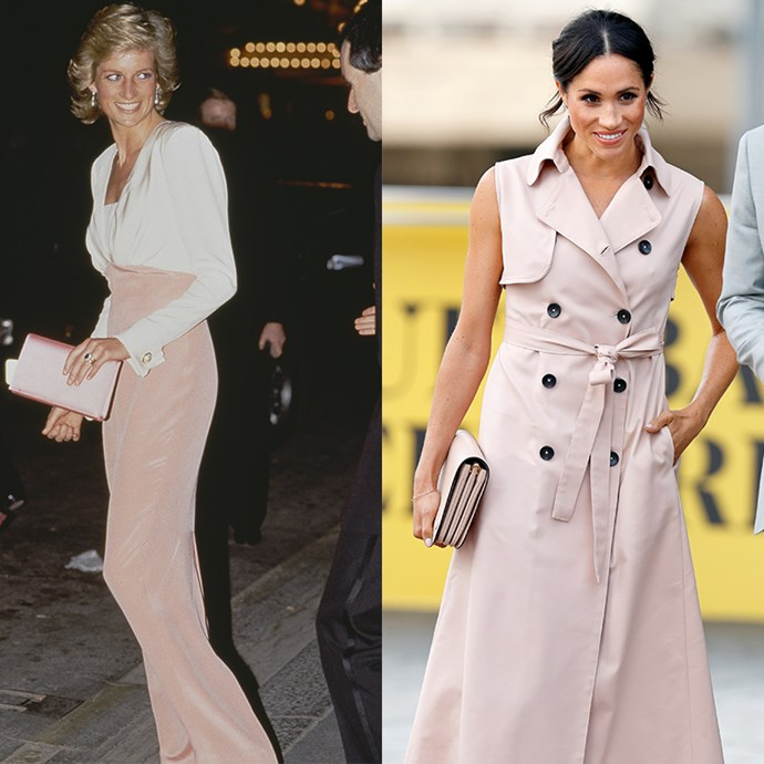 Meghan has quickly proved pale pink is one of her colours of choice, but Lady Di was first to the mark. We can't blame either of them, they pull it off seamlessly. *(Images: Getty)*