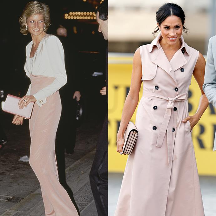 Meghan has quickly proved pale pink is one of her colours of choice, but Princess Diana was first to the mark. We can't blame either of them, they pull it off seamlessly. *(Images: Getty)*
