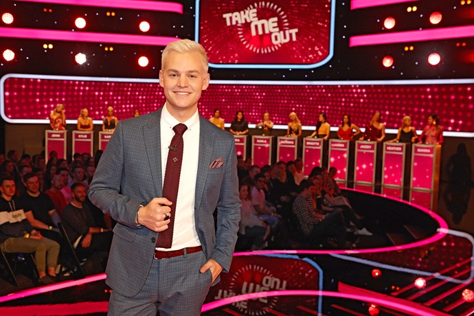 Joel Creasey hosts *Take Me Out.*