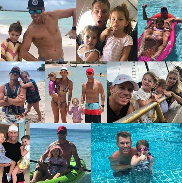 Candice Warner created a grid of adorable moments for her husband David Warner and their children.