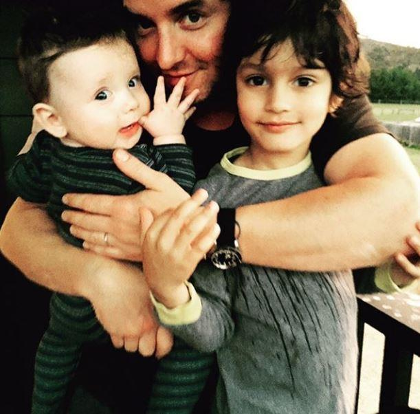 *Offspring* star Asher Keddie shared this cute picture of her husband Vincent Fantauzzo and their two boys.