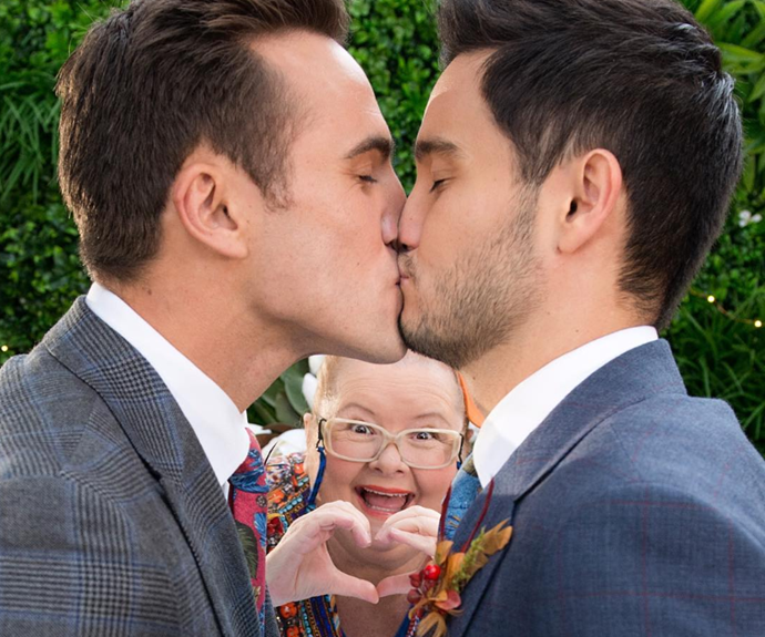 Tonight, *Neighbours* characters Aaron (Matt Wilson) and David (Takaya Honda) will be married in the first legal same sex wedding on Australian television.
