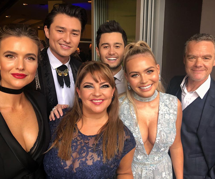 Takaya with some of his *Neighbours* cast at the TV Week Logies.