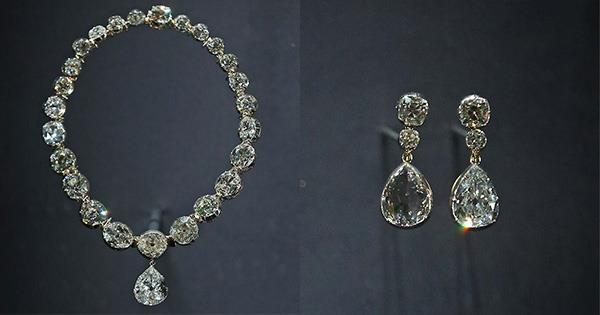 The Queen's Coronation Necklace and Earrings.