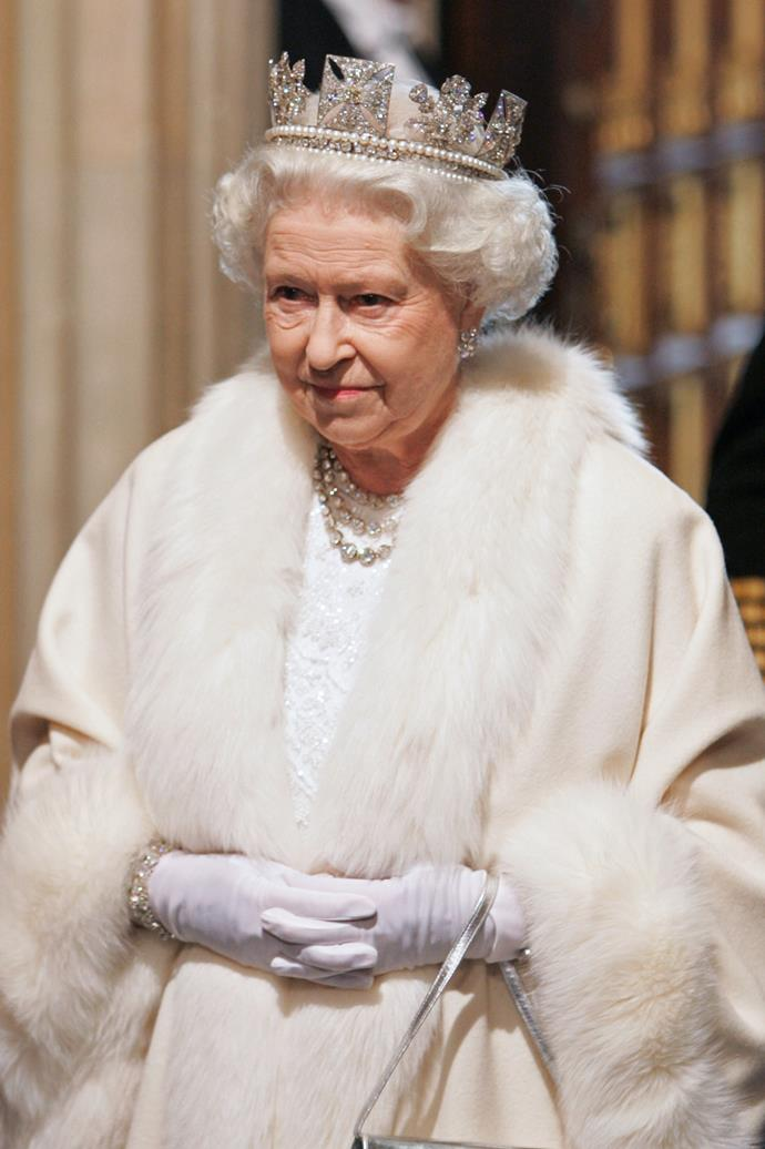 Queen Elizabeth II wearing the Diamond Diadem at the House of Lords for the State Opening of Parliament in 2007.
