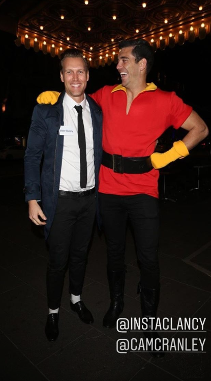 """Georgia's """"exes"""" Clancy Ryan (as a mormon from *Book of Mormon*) and Cam Cranley as Gaston from *Beauty and the Beast.*"""