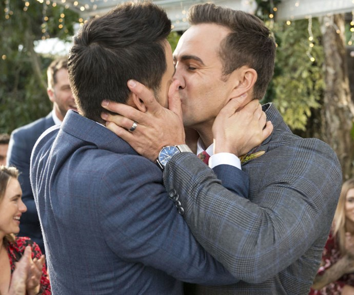 Takaya Honda and Matt Wilson made history as the first TV characters to wed in a same-sex marriage on Aussie TV.