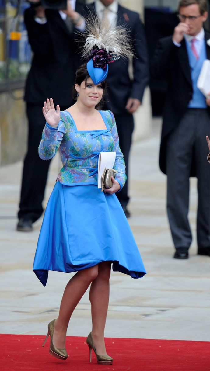 Eugenie in Vivienne Westwood for Prince William and Kate Middleton's wedding in 2011.