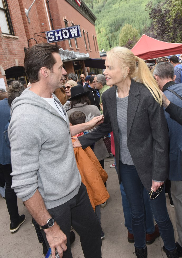 Nicole Kidman and Hugh Jackman bumped into each other at the Telluride Film Festival 2018.