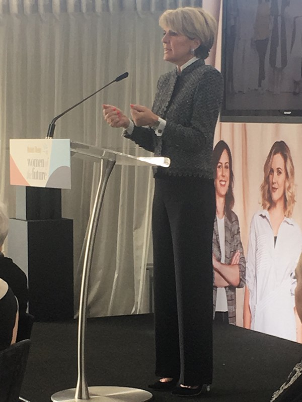 """Don't say toughen up Princess, say enough is enough!"" Julie Bishop addresses a room of Australia's most influential women."