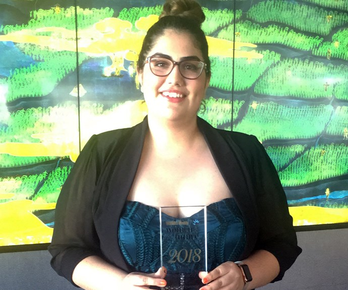 Community Health and Charity award winner Caitlin Figueiredo with her award.