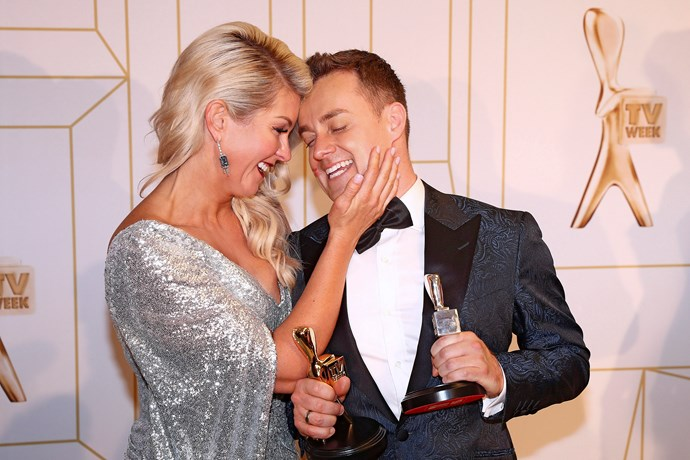 Chezzi and Grant Denyer celebrate his wins at the 2018 TV WEEK Logie Awards.
