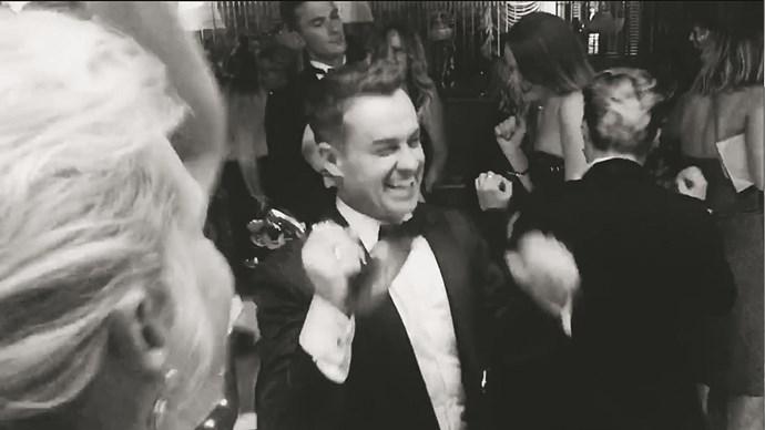 Grant celebrates his Logies win on the dance floor.