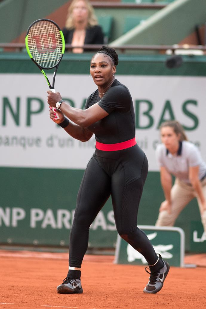 "**Serena Williams, Roland Garros 2018** <br><br> Serena wore this controversial black cat suit less than a year after [giving birth](https://www.nowtolove.com.au/parenting/pregnancy-birth/serena-williams-vogue-cover-and-birthing-scare-44148|target=""_blank"") to her daughter Olympia. She said she wore the suit because it was ""my way of being a superhero""."