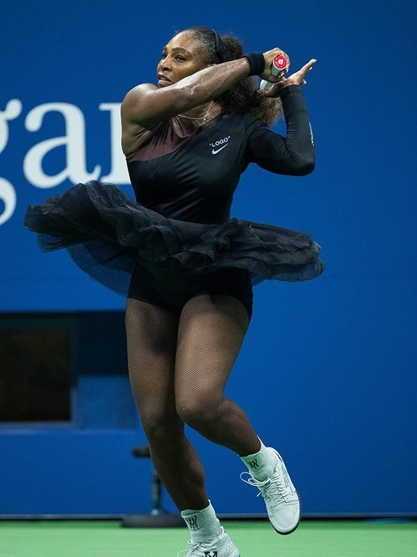 **Serena Williams, US Open 2018** <br><br> Following the renowned cat suit, the new mum then stepped out in a black tutu at the 2018 US Open, a bold, feminine statement that proves she still has power when it comes to her wardrobe.