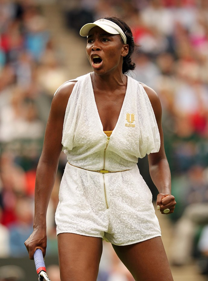 """**Venus Williams, Wimbledon 2011** <br><br> Like her sister, Venus has been known to make some bold fashion choices on the tennis court. This white romper turned heads at Wimbledon, with the *Daily Mail* calling it a """"ghastly playsuit."""""""