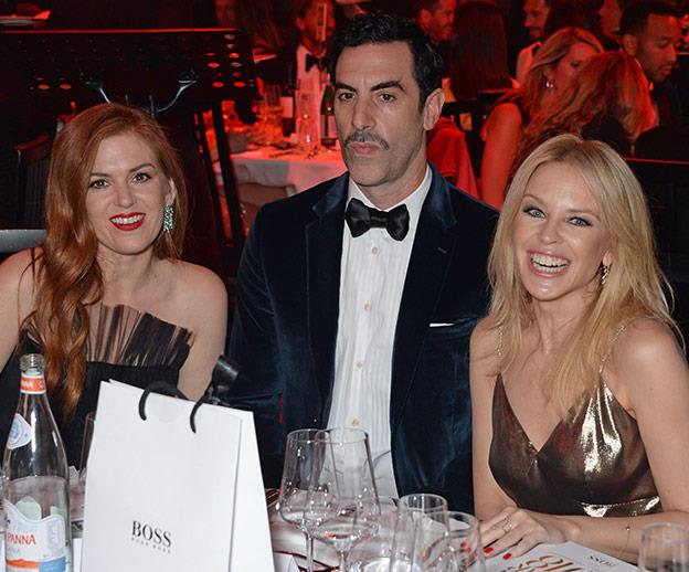 It's an Aussie reunion with Isla Fisher, (honorary Aussie through marriage) Sasha Baron Cohen and Miss Kylie Minogue.