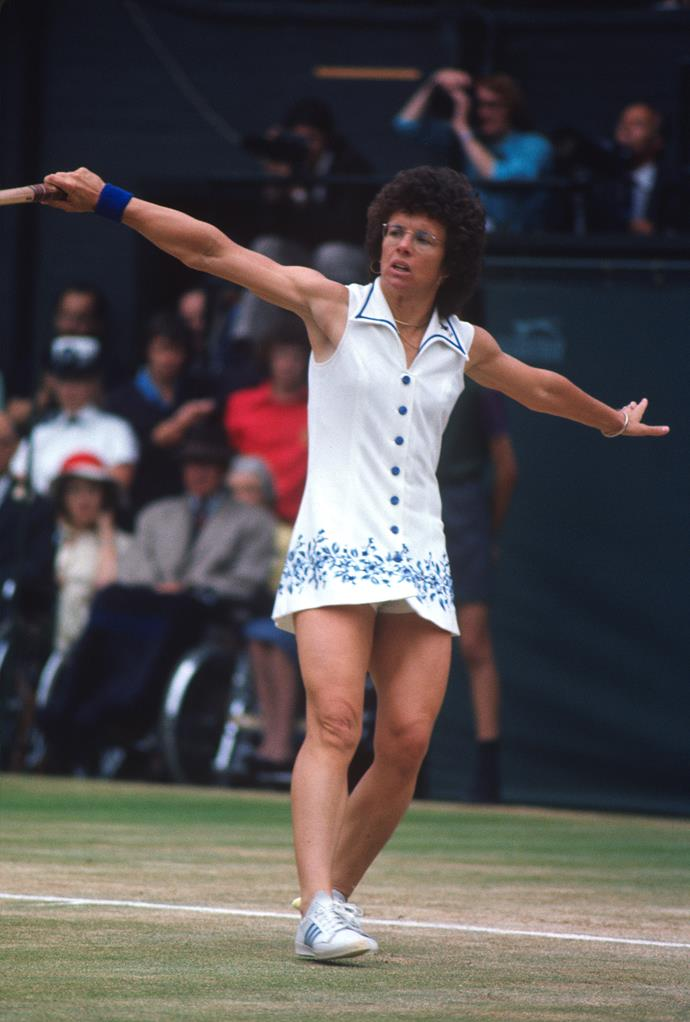 **Billie Jean King, Wimbledon 1975** <br><br> Billie Jean and daring on-court fashion go hand-in-hand. This blue and white embroidered mini-dress certainly had heads turning.