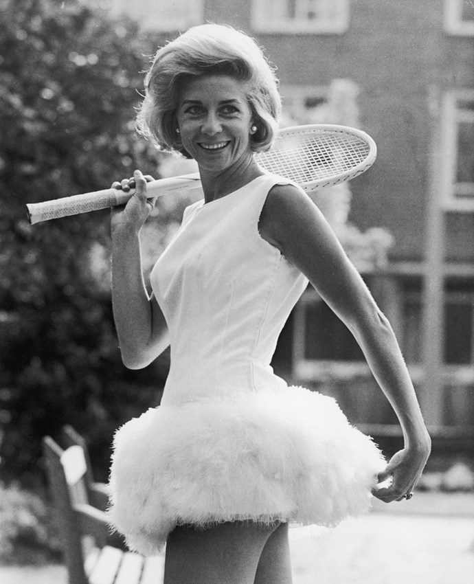 **Lea Pericoli, 1964**  <br><br> Pericoli's daring fashion choices on the court generated such a frenzy that she would often keep her outfits a secret until the time of play. This feathered number was designed by British sportswear designer Teddy Tinling.