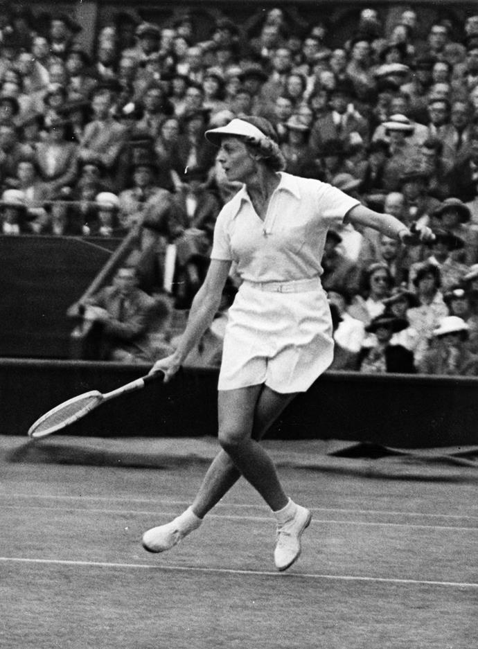 **Alice Marble, Wimbledon 1937**  <br><br> Marble was one of the first to wear shorts on the tennis court, taking leave from the traditional long skirt and heavy restrictive clothing that was part and parcel to the times.