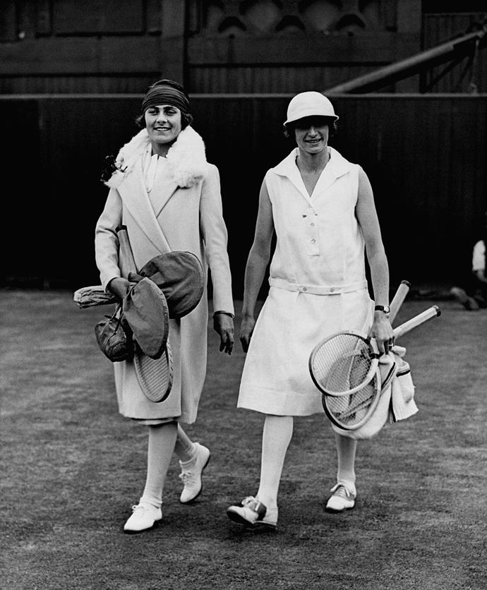 **Lili De Alvarez and Kitty Godfree, Wimbledon 1926** <br><br> The game stakes were high, but the glamour was on another level in the 1920s. A time where fur trimmed coats and calf-grazing dresses were deemed appropriate on the tennis court.
