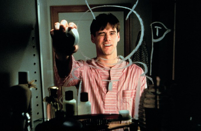 Jim playing Truman Burbank on *The Truman Show*.