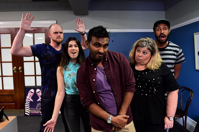 The cast of *Orange Is The New Brown* (from left) Broden Kelly, Becky Lucas, Nazeem Hussain, Urzila Carlson and Matt Okine.