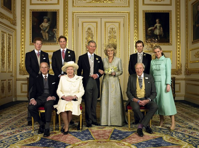 Prince Charles with the Duchess of Cornwall, Tom Parker Bowles, The Duke of Sussex, The Duke of Cambridge, Laura Parker Bowles, The Duke of Edinburgh, The Queen and Bruce Shand. Source: Getty Images