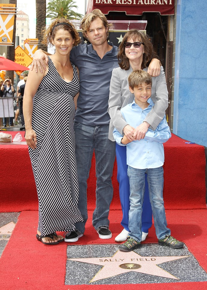Sally Field with her son Eli Craig, daughter-in-law Sasha Williams and grandson Noah when she was honoured with a Star on the Hollywood Walk of Fame in 2014.