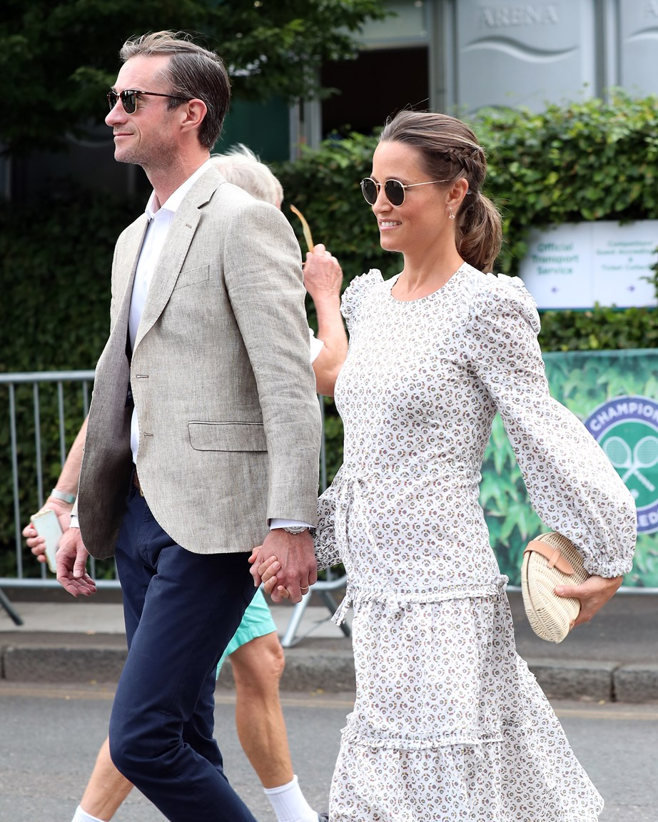 Pippa and her husband James during her pregnancy with their first child, Arthur. *(Image: Getty)*