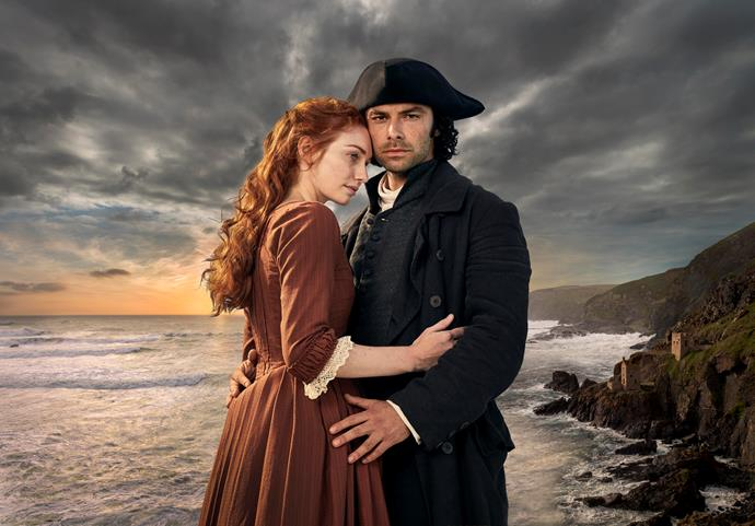 Eleanor Tomlinson and Aidan Turner star in *Poldark.*