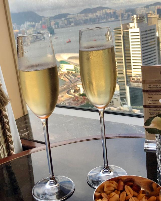 French champagne and this view from the Island Shangri-La's 56th floor Horizon Club.
