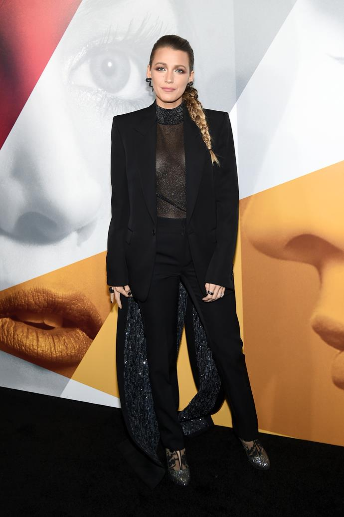 New mum Blake Lively has fully embraced the pantsuit trend.