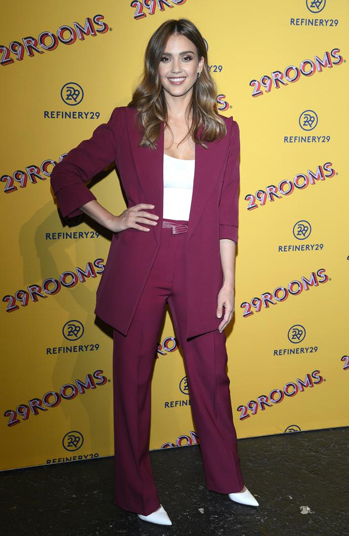 **Jessica Alba** <br><br> Believe it or not, this actress has three children. She was positively glowing in this bright pantsuit at a recent event in San Francisco.