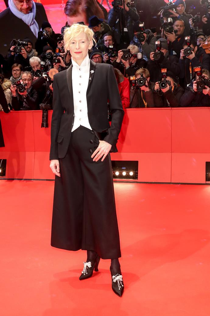 **Tilda Swinton** <br><br> If there was ever a Queen of pantsuits, Tilda would receive the crown. The mum-of-two looked powerful and classy at the Berlinale International Film Festival.