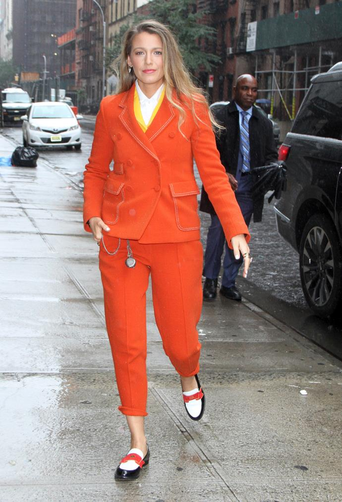 **Blake Lively** <br><br> It seems like the only thing left in Blake's wardrobe are pantsuits. But we're not complaining. This bright orange look she wore in New York City recently is a personal favourite.