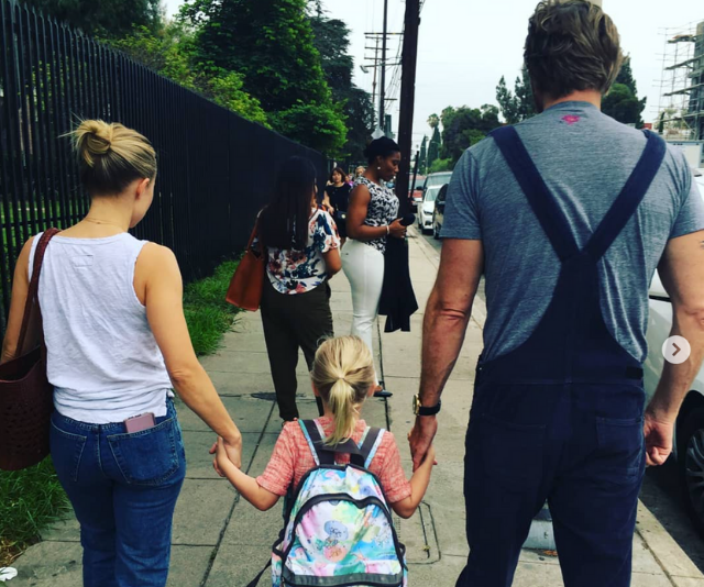 """Shepard and Bell were hands on when five-year-old, Lincoln had her very first day of school recently. Keeping with the humour theme, Bell captioned this sweet pic with, """"Nerd alert!!! The team Shepard loves school!"""" *Image: Instagram/KristenAnnieBell*"""