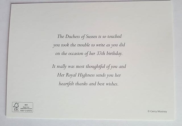 Birthday well wishers received a personal card from Duchess Meghan. Image: Instagram/ @loopycrown3