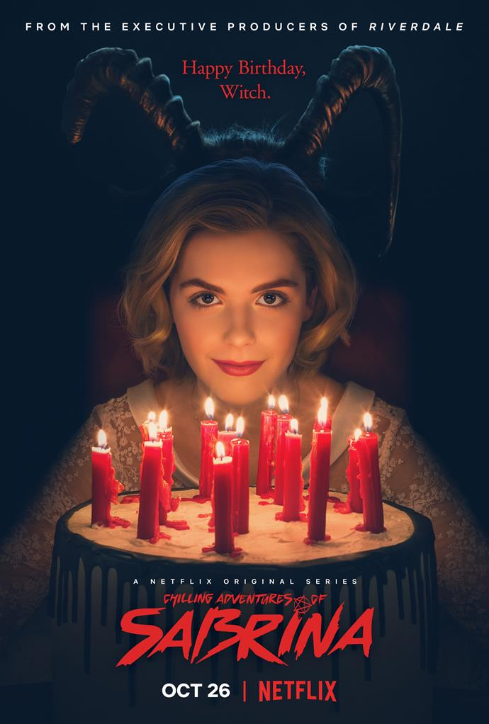 Netflix's new poster for *Chilling Adventures of Sabrina* - not your typical birthday!